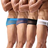 Men's Boxers Sexy Underwear Mesh Breathable Gay Low Rise Boxer Briefs(37BBNW,XL)