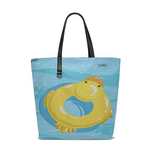 Shoulder Crossbody Bag Handle Satchel Backpack Tote Bag Purse Messenger Bags Best Shoulder Bag Toy Inflatable Duck Ring Blue Sea Printing Tote Zipper Travel