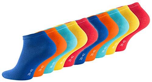 10 Paar Herren und Damen Sneaker Socken Sport Freizeit Socken aus Baumwolle (43-46, Fun Colors)