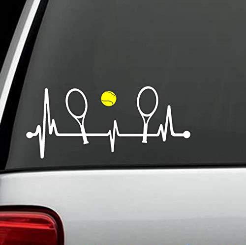 CELYCASY Tennisschläger mit gelbem Tennisball Heartbeat Lifeline 20,3 cm Aufkleber L1069