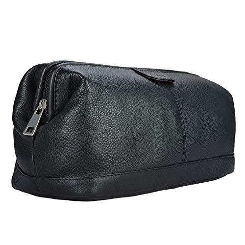 STILORD 'Laurin' Beauty Case uomo in pelle Trousse da viaggio Porta trucco rigido Portatrucco Pochette vintage cuoio, Colore:nero