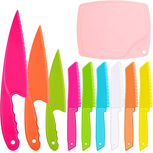 10 Pieces Kids Plastic Kitchen Knife Set Colored Children's Safe Cooking Chef Nylon Knives with Cutting Board for Fruit, Bread, Cake, Salad and Lettuce