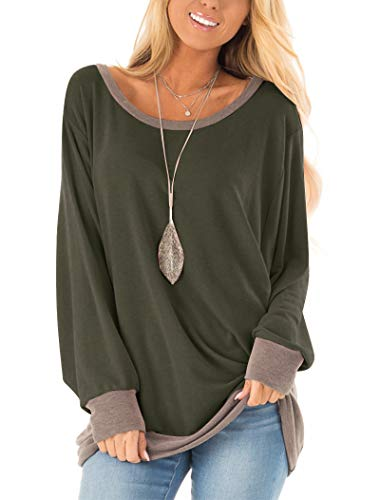 Fallorchid Women's Long Sleeve Crew Neck Tunics Loose Fit Casual Color Block Tops Army Green Maryland