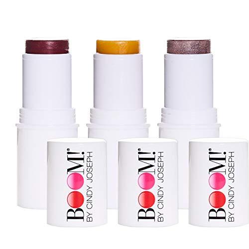 BOOM! by Cindy Joseph Cosmetics Boomstick Trio - 3 Pack Boom Makeup Sticks for Older Women & Mature Skin - Blush Stick, Highlighter Stick & Moisturizer