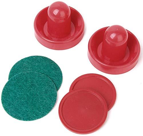 EPRHAY Lufthockey-Pucks und Paddel-Set, Kunststoff, Rot, 6,4 cm (2 Stück) und Schieber (2 Stück) mit Filzpads.