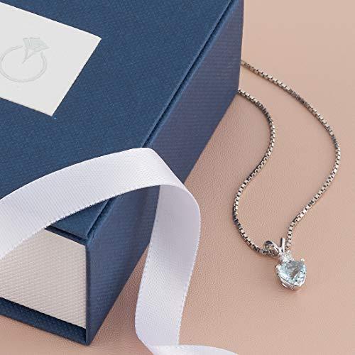 14 Karat White Gold Heart Shape 0.75 Carats Aquamarine Diamond Pendant