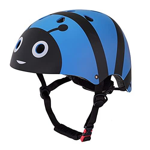 YGJT Casco Bici per Bambini, Caschetto Bicicletta, Hoverboard, Pattini, BMX, Casco Regolabile 50-54CM da Bambini Unisex 2-5 Anni Ultraleggero(Ape Blu)