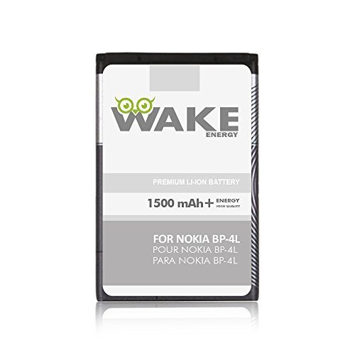 WAKE OEM Battery for Nokia BP-4L Cell Phone (Li-Ion Replacement Battery 1500 mAh) - for Nokia BP-4L. WAKE Brand