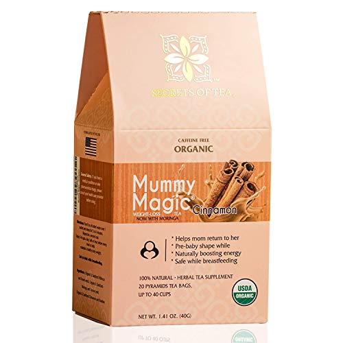 Mummy Magic Tea Weight Loss Tea for Women - Detox Tea with Cinnamon & Moringa Tea with 100% Organic Biodegradable Sachets - Up to 40 Servings - 20 Count(1 Pack)