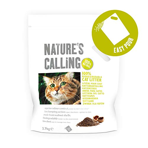NATURE'S CALLING Clumping Cat Litter, Biodegradable Natural Litter with Odour Control, (5 x 2.7 kg)
