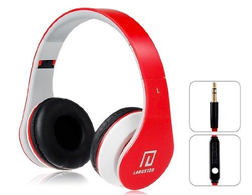 Langston  ® Faltbare Super Bass High Definition Kopfhörer (iM-12 V) in Rot mit Mikrofon & Fernbedienung für Amazon Fire HD 6 Tablet, Amazon Fire HD 7 Tablet & Amazon Fire HDX 8.9 Tablet
