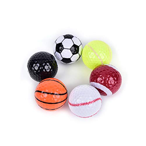 Sawpy 6 pcs Novelty Colored Novelty Golf Balls, Ball Strong Endurance Strength Practice Balls Fun Gift Indoor Outdoor Training Ball