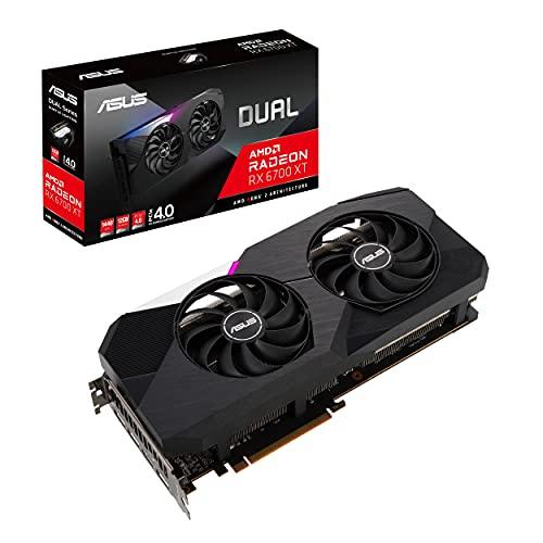 ASUS Dual AMD Radeon RX 6700 XT STD Edition 12 GB GDDR6 - Tarjeta gráfica Gaming (AMD RDNA 2, PCIe 4.0, 12 GB GDDR6, HDMI 2.1, DisplayPort 1.4a, Ventiladores Axial-Tech, tecnología 0dB)