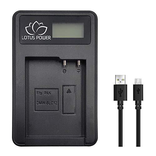 LOTUS POWER Cargador de Batería DMW-BLC12, Cargador LCD de Carga Rápida para Batería DMWBLC12 Compatible con Cámara Panasonic Lumix DMC-G5/G6/G7 DMC-FZ200/FZ1000 DMC-G85/G80