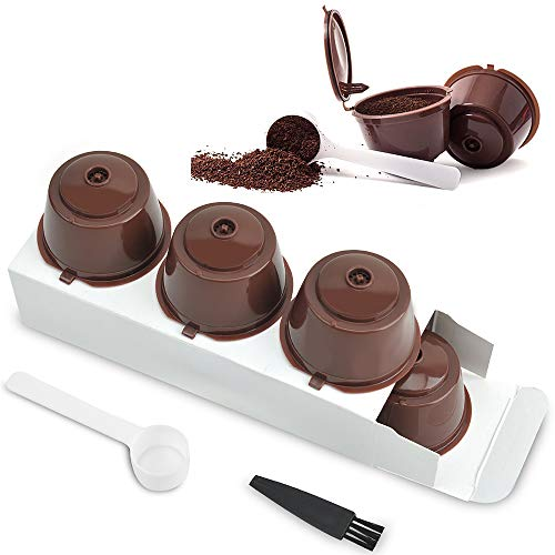 LEZED Kaffeekapsel für Dolce Gusto Kaffeekapsel Wiederverwendbar Kaffee Kapseln Kaffeekapselfüllung Dolce Kaffeekapsel Kompatibel Kaffeefilter Nachfüllbare Kaffeekapseln 3 Pack Mit Löffel und Pinsel