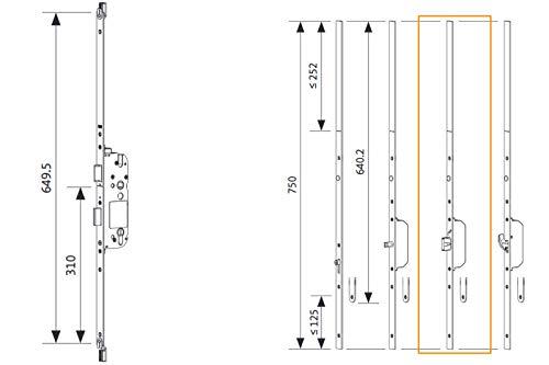 GU Mehrfachverriegelung Secury X - 65/92-10/20 + Verlängerungsgarnitur oben/unten MR 2-20 mm Stulp Massivriegel Riegel