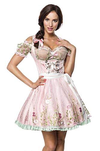 Mini Brokat Dirndl Set Tracht Trachtenkleid Kleid Wiesn Oktoberfest Bluse 36-46 Rosa XL (42)
