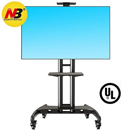 NB North Bayou - AVA1500-60-1P - Supporto TV da pavimento con ruote per schermi LCD LED e TV curvi da 55' a 80' con portata maxima 45.5 kg, Nero