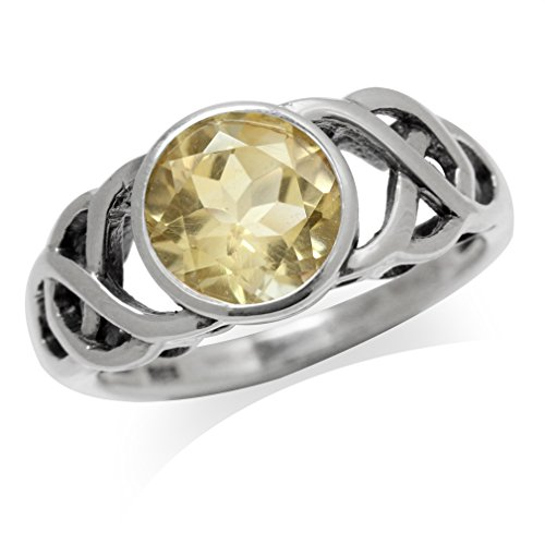 Silvershake 1.72ct. Natural Citrine 925 Sterling Silver Celtic Knot Solitaire Ring Size 12