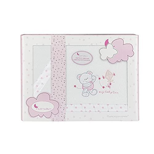 Sábanas de Coralina para minicuna Baby Love en blanco y rosa