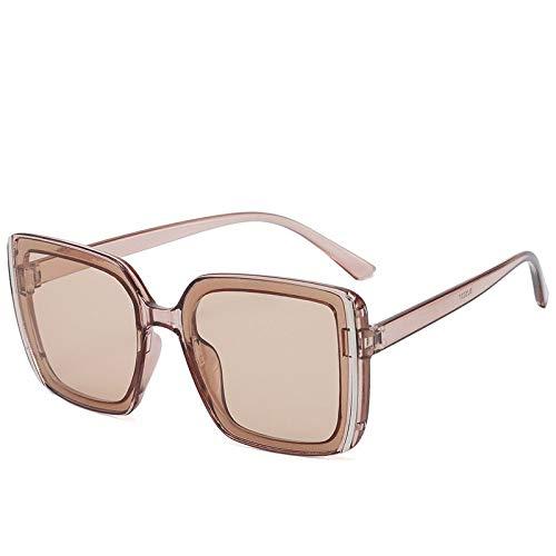 ASDWA Gafas de sol para mujer, color marrón transparente de gran tamaño cuadrado espejo antideslizante Uv400 para correr, ciclismo, pesca, conducción, golf, deportes casuales