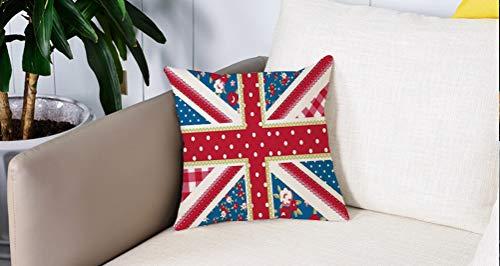 Pillowcase,Cuscini da Letto,Shabby Chic Decor, bandiera britannica carina stile floreale retrò pois cultura country ispiratoCuscini Per Copricuscini Divano Caso Federa Home Decorativi 45x45 Cm