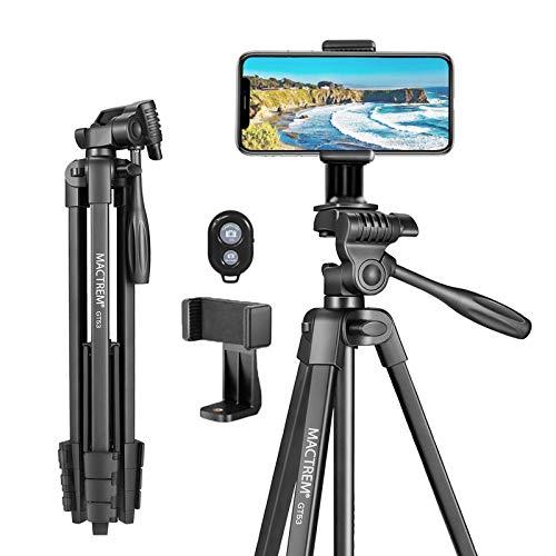 Handy Stativ Smartphone MACTREM 136.5cm 3KG Dreibeinstativ aus Aluminium mit Handy Halterung und Bluetooth Fernbedienung Kamera Stativ für iPhone Samsung