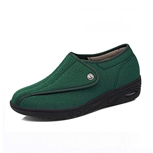CCSSWW Unisex Punta Abierta Ancho Ajustable,Zapatos Madre más Fertilizantes Anchos y Ajustables.-Verde_35,Antideslizantes Artritis Y Edema para Ancianos