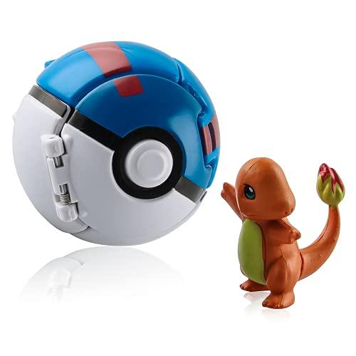 Esportic Poke Ball, Figurina Poke Ball, Throw 'N Pop Poké Ball,Kid Toys Plastic Anime Pokeball Figure per Bambini e Adulti Festa Giocattolo (Charmander)