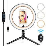 "10"" Ring Light LED Desktop Selfie Ring Light USB LED Desk Camera Ringlight 3 Colors Light with Tripod Stand iPhone Cell Phone Holder and Remote Control for Photography Makeup Live Streaming"