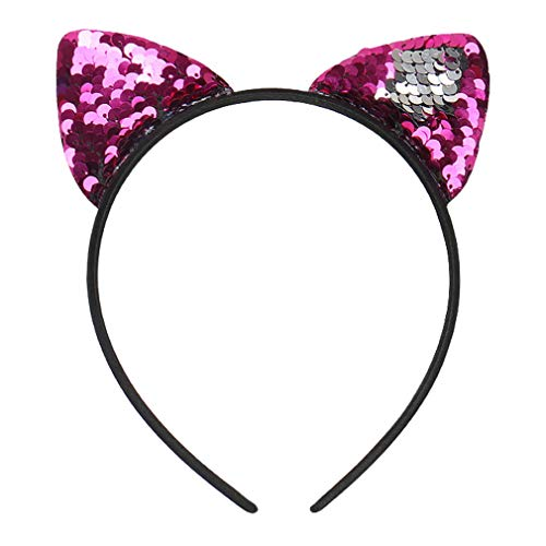 COMVIP Katze Ohren Muster Damen Mädchen Haarschmuck Haare Hoop Stirnbänder Haarreif Rosa