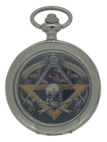 Freimaurer-Taschenuhr mit Totenkopf und gekreuzten Knochen, silberfarben, klassische Taschenuhr mit blauem Freimaurer-Zifferblatt