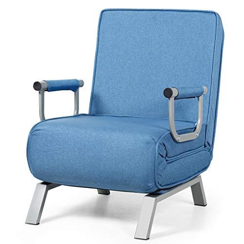 Giantex Schlafsessel klappbar, Klappsessel Schlafsessel mit Armlehnen & Kissen, Rücklehne in 5 Stufen verstellbar, Klappsofa Bettsessel Funktionssessel (blau)