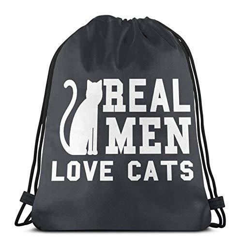 Lmtt Mochila con cordón Mochila deportiva Mochila de viaje Bolsa de viaje Hombres reales aman a los gatos