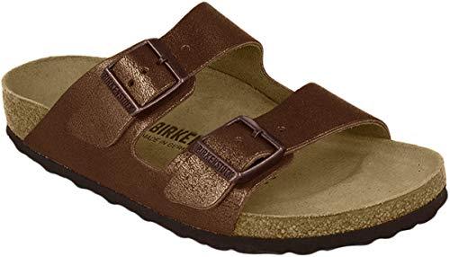 BIRKENSTOCK Arizona NL Washed Metallic Damen Sandaletten,Frauen Sandalen,Leder,glänzend,Vintage-Look,Orig Fußbett,Braun,EU 40N