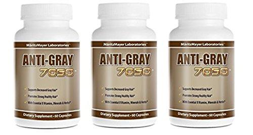 Anti Gray Hair 7050 Restore Natural Hair Color 60 Capsules Per Bottle (3 Bottles)