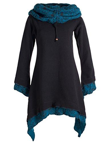 Vishes - Alternative Bekleidung - Lagenlook Zipfelkleid aus Eco Fleece mit Langen rmeln und groem Kapuzenschalkragen schwarz 52