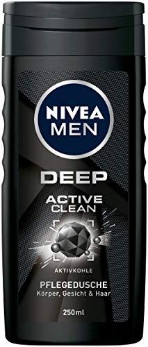 NIVEA MEN DEEP Active Clean Pflegedusche mit Aktivkohle im (250 ml), erfrischendes Duschgel mit maskulinem Duft reinigt effektiv Körper, Gesicht und Haar