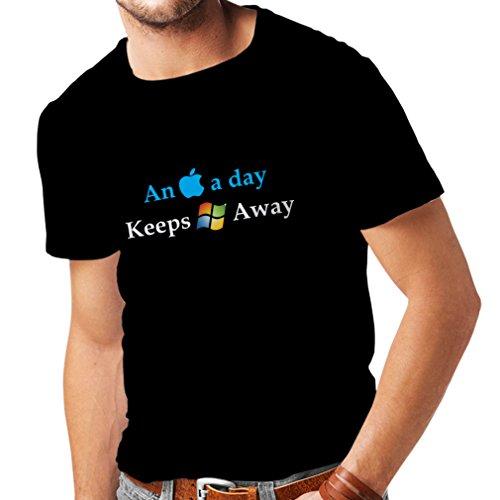 lepni.me Männer T-Shirt EIN Apfel am Tag. - Lustige Sprüche, humorvolle technische Geschenkideen (Medium Schwarz Mehrfarben)