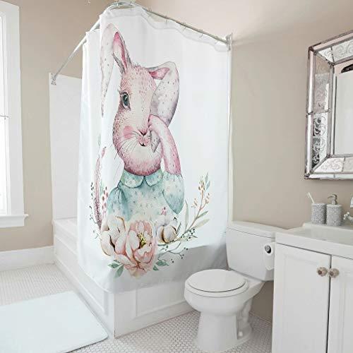 Wecrayon Ostern Kaninchen Duschvorhang Anti-Schimmel Wasserdicht Waschbar Stoff Duschvorhänge Polyester Textil Bad Vorhang mit Haken für Badewanne White 200x200cm