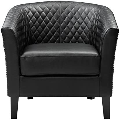 Best Right2Home Upholstered Quilt-Back Barrel, Black Accent Chair, Medium