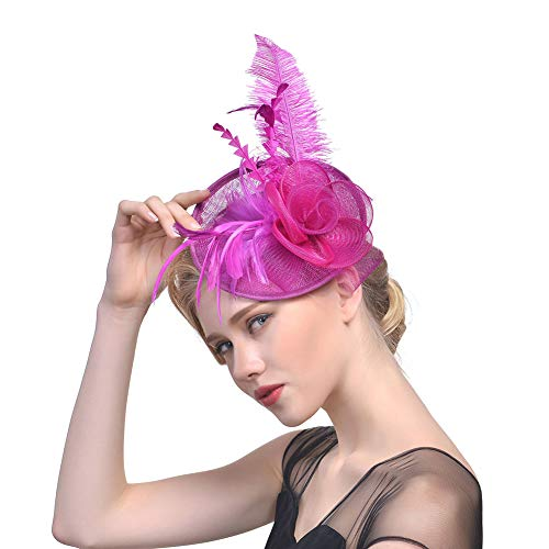 Y.L Master Boda Las Damas De Novia Prom Malla Fascinador Plumas Pelo Diadema Flores Tocado Headwear...