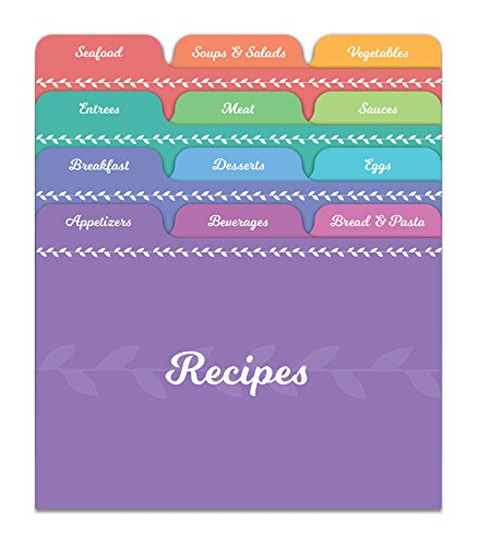 Jot & Mark Recipe Card Dividers   24 Tabs per Set, Works with 4x6 Inch Cards, Helps Organize Recipe Box (Rainbow)
