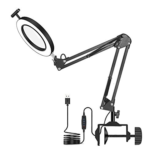 Lámpara LED de lupa con abrazadera,FUUCOK lámpara de escritorio con lupa con lámpara de aumento iluminada de 3 colores con brazo giratorio ajustable para lectura, manualidades o banco de trabajo