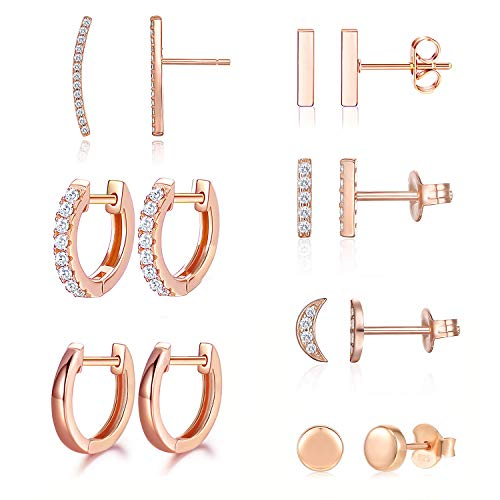 Earrings for Women Hoop Huggie Girls Ear Piercing Minimalist Cuff Mini Bar Dainty Stud Perfect for Gifting Rose Gold Plated AAA+ Cubic Zirconia Small Set 14pcs Earrings (14Pcs Set)