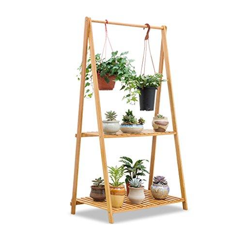 HYXI-Étagère pour plantes 2 niveaux fleur racks étagère à plantes pliable bambou permanent étagère suspendue plante pots de fleurs titulaire étagères de coin support rack pour balcon extérieur