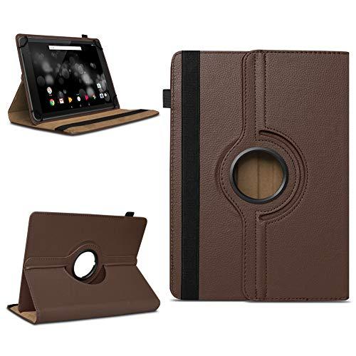 NAmobile Schutzhülle kompatibel für TrekStor Primetab P10 Tablet Hülle Tasche Case Cover 360 Drehbar, Farben:Braun