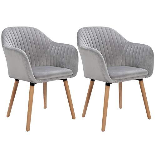 WOLTU Esszimmerstühle BH95hgr-2 2er Set Küchenstuhl Wohnzimmerstuhl Polsterstuhl Design Stuhl mit Armlehne, Sitzfläche aus Samt, Gestell aus Massivholz, Hellgrau