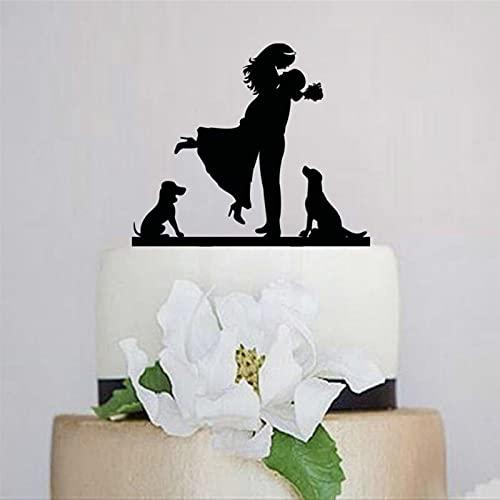 Decoración para tarta de boda, color negro, para novio y novia con perros, decoración de pastel de acrílico para decoración personalizada para mascotas
