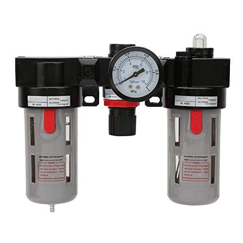 Compressed Air Filter Regulator Combo, 1.0Mpa 1/2 Unit Air Source Treatment Unit Pneumatic Lubricator+Filter+Regulator, BC-4000 Compressor Filter Kit